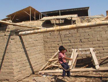 Patio de una casa colindante a la huaca